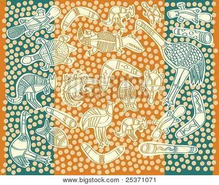 animals aboriginal australian style drawings