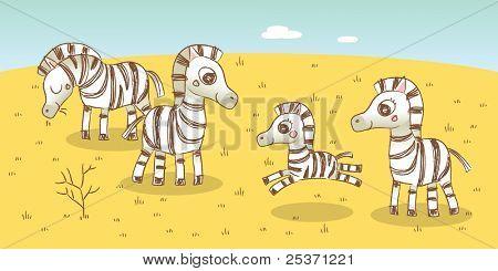 zebra family- savanna animals drawings