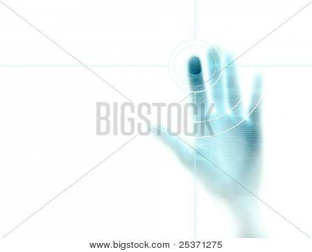 fundo de alta tecnologia com impressão digital alvo na tela do computador