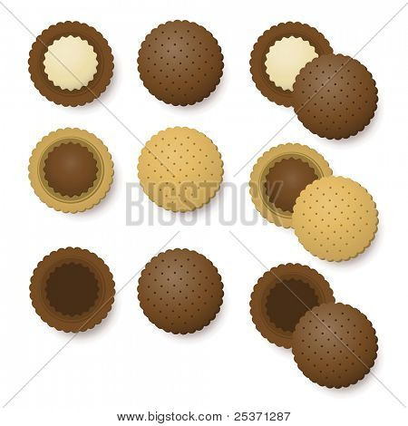 chocolate and vanilla biscuits dessert vector