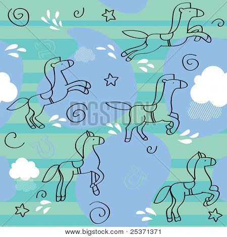 horse seamless pattern, children background
