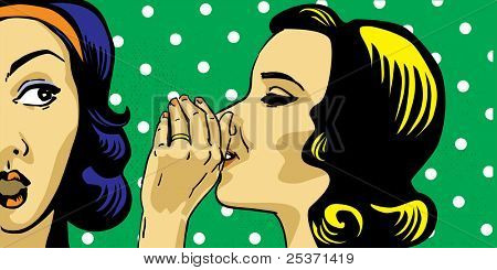 gossiping women, retro polka dots on background