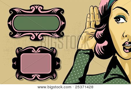 retro woman listening to gossip, comics style illustration and vintage frames