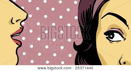 women communication, mouth and eye close up, retro background