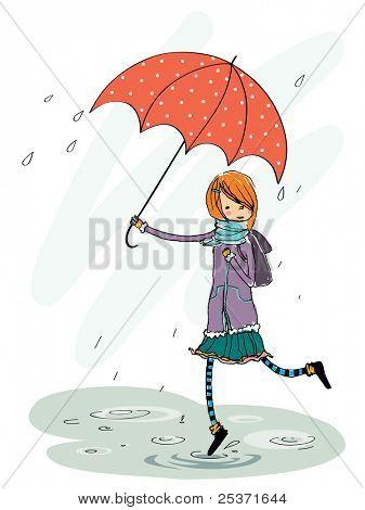 umbrella girl in rain