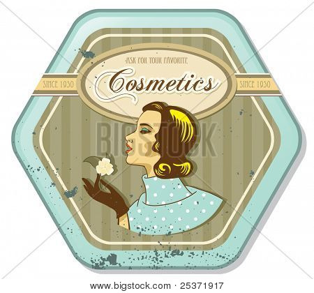 retro woman vintage cosmetics tin label