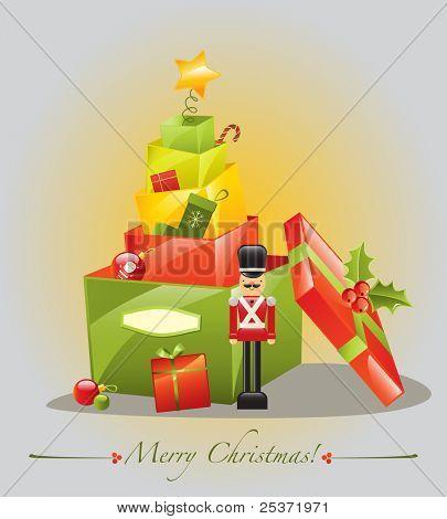 christmas tree gift greeting card