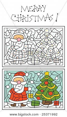 christmas coloring page for kids, Santa Claus and christmas tree