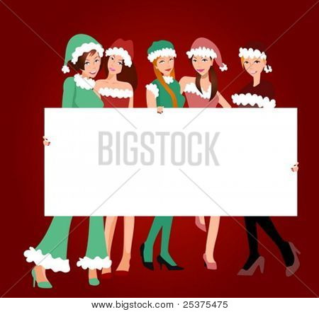 five girls with banner,christmas