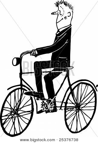 Man riding the bicycle
