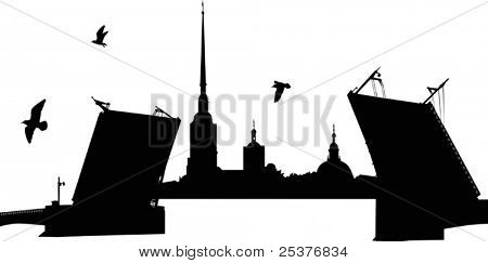Illustration with Peter and Paul Cathedral in Saint-Peterburg