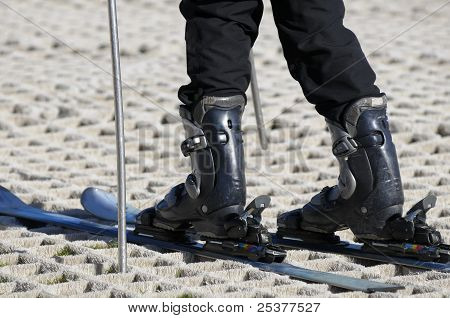 Skier On A Dry Ski Slope