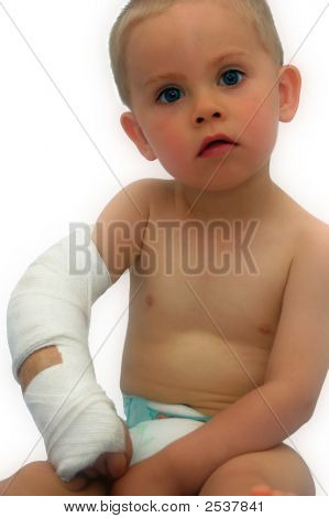 Little Boy With Gyps Bandage
