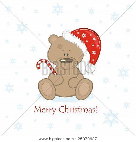 Christmas Teddy Bear in the red bell with sweet