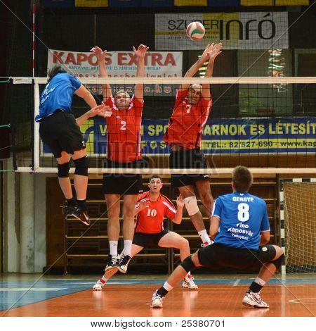 KAPOSVAR, HUNGARY - NOVEMBER 13: Andras Geiger (L) in action at a Hungarian National Championship volleyball game Kaposvar (blue) vs. Nyiregyhaza (red), November 13, 2011 in Kaposvar, Hungary.
