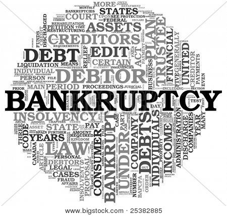 Bankruptcy concept in word tag cloud on white background