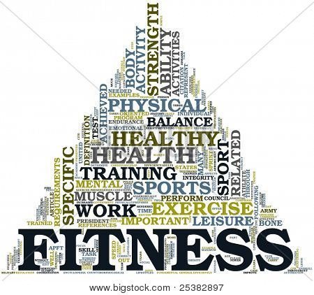 Fitness and health concept in word tag cloud on white background