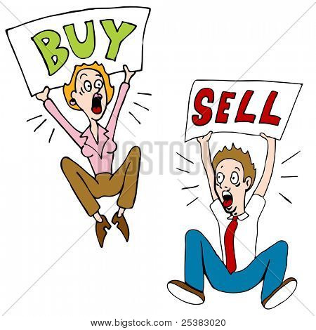 An image of stock market investors with buy and sell signs.