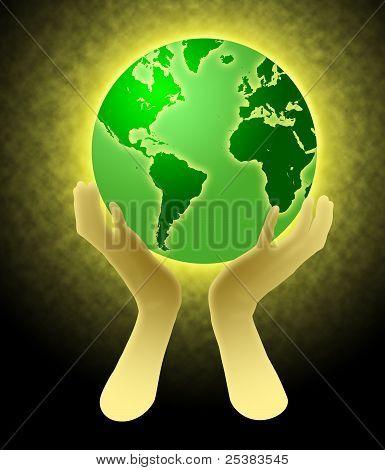 Mãos segurando mundo globo ilustração