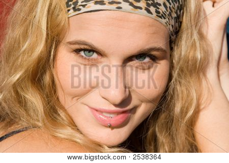 Close Up Of Pretty Woman With Lip Piercing