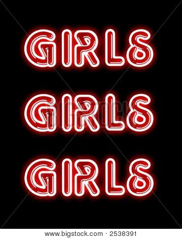 girls girls girls neon sign image photo bigstock. Black Bedroom Furniture Sets. Home Design Ideas