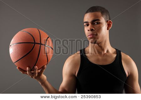 Handsome Young Black Basketball Sports Man