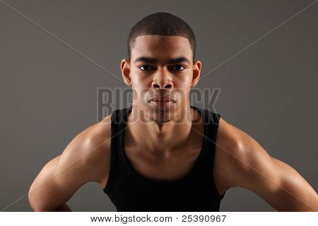 Shoulder Muscles Of African American Fitness Man