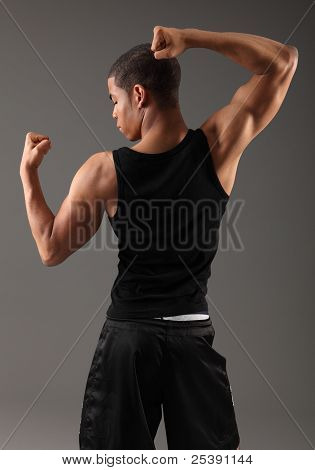 Back Deltoid Shoulder Muscles On Fit African Man