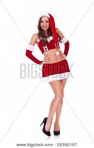 Full Length Portrait Of A Sexy Santa