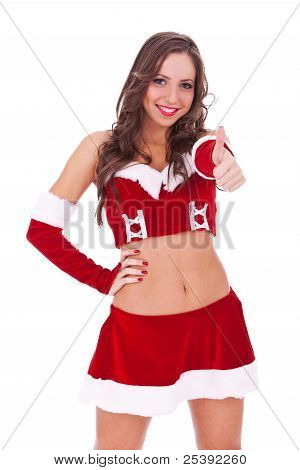 Young Santa Woman With Ok Gesture