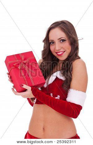 Santa Woman Holding A Gift
