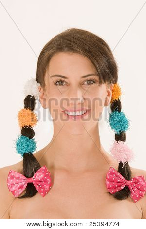 Girl with colorful braids