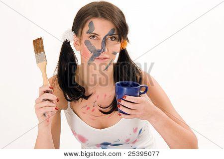 Junge Frau machen Kaffeepause