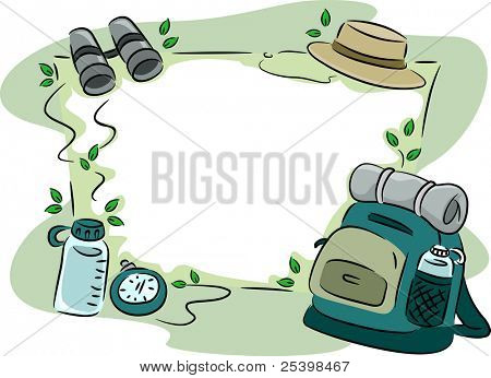 Background Illustration Featuring Camping Gear