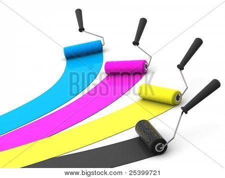 roller brush. 3d. CMYK
