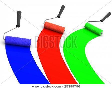 roller brush. 3d. RGB