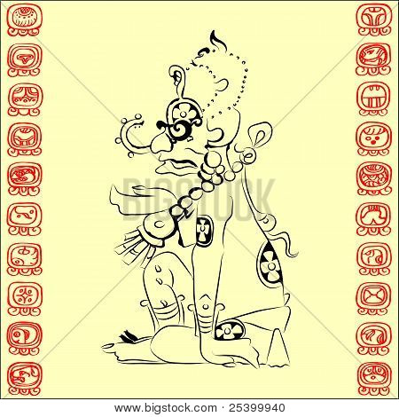 Vector Mayan Deity And The Characters