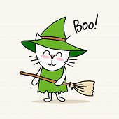 Cute Little Kitty Witch Celebrates Happy Halloween Day. Funny Cartoon Flat Vector Animal Illustratio poster