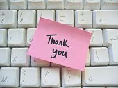 picture of thank you note  - thank you message note on a computer keyboard - JPG