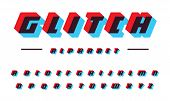 Glitch Vector Latin Alphabet. Speed Moving Bold Italic Font. Applique Letters, Color Offset Effect.  poster