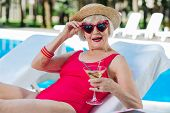Funny Cute Grandmother Drinking Refreshing Summer Cocktail poster
