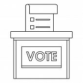 Vote Election Box Icon. Outline Vote Election Box Icon For Web Design Isolated On White Background poster