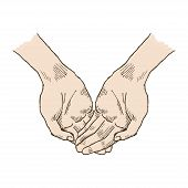 Hands Asking Posture. One Hand On Top Of Other Pop-art Vector. Church, Hands, Blessing, Hand With Fo poster