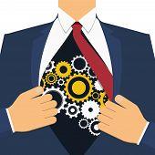 Businessman Show Cogwheel Mechanism On His Chest. Open Shirt. Vector, Illustration, Flat Style. poster