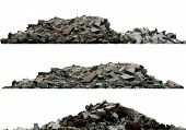 Heaps Of Rubble And Debris Isolated On White 3d Illustration poster