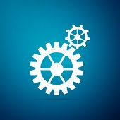 Gear Icon Isolated On Blue Background. Cogwheel Gear Settings Sign. Cog Symbol. Flat Design. Vector  poster