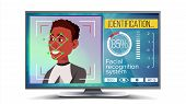 Face Recognition, Identification System Vector. Face Recognition Technology. Afro American Face On S poster
