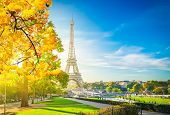 View Of Eiffel Tower Landmark From Trocadero At Fall Sunrise, Paris, France, Toned poster