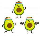 Funny Heath And Fitness Illustration Set. Cartoon Avocado With Sweatband Jogging And Lifting Dumbbel poster