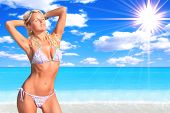 picture of tropical island  - Sexy and fit blond woman bikini model relaxing by the sea - JPG